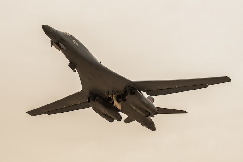 A B-1B Lancer aircraft from the 34th Bomb Squadron departs from Al Udeid Air Base, Qatar, April 8, 2017. This departure marks the airframe's first mission in the U.S. Air Force Central Command's area of operations in more than two years. (U.S. Air Force photo by Staff Sgt. Joshua Horton)