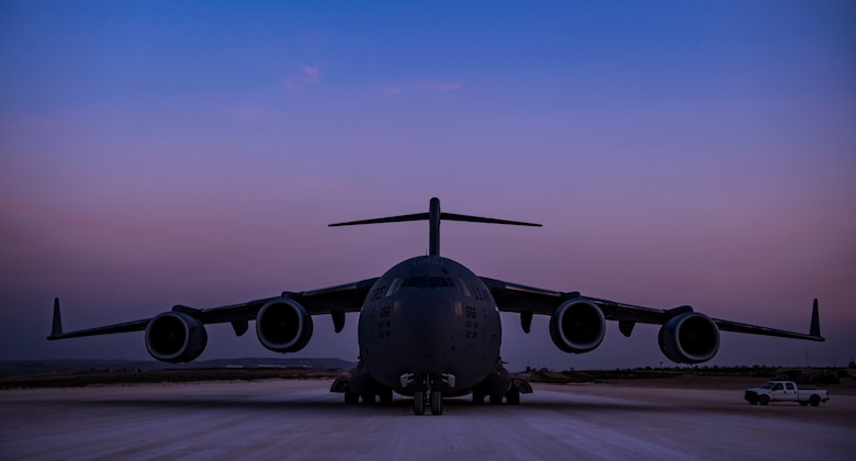 A C-17 Globemaster III, assigned to the 816th Expeditionary Airlift Squadron, conducts combat airlift operations for U.S. and coalition forces in Iraq and Syria in support of Operation Inherent Resolve, April 13, 2018. The C-17 is capable of rapid strategic delivery of troops and all types of cargo to bases throughout the U.S. Central Command area of responsibility. The aircraft can be outfitted to perform tactical airlift, airdrop and aeromedical evacuation as missions require. (U.S. Air Force photo by Tech. Sgt. Gregory Brook)