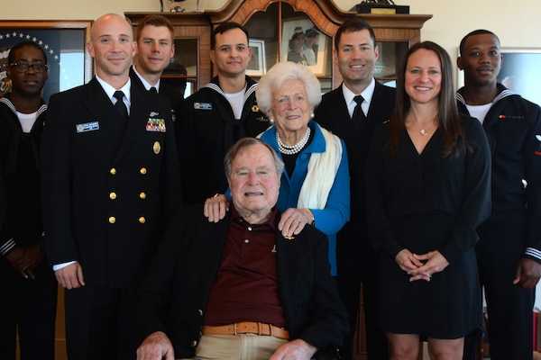 Sailors and representatives from the USS Houston visit with former President George H.W. Bush and his wife Barbara Bush in Houston, Feb. 25, 2016. Navy photo by Petty Officer 1st Class Chris Fahey