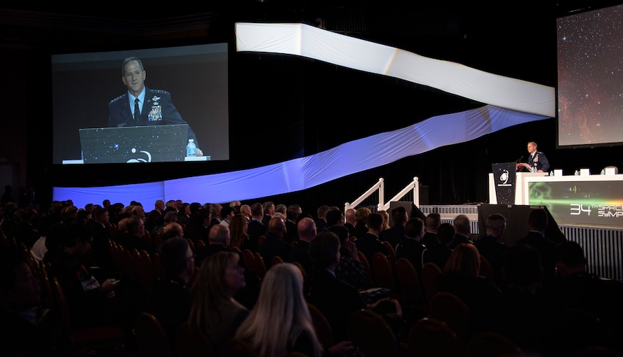 Chief of Staff of the Air Force Gen. David L. Goldfein speaks about the essential role Airmen play in space superiority, during the 34th Space Symposium April 17, 2018, in Colorado Springs, Colorado. During his remarks Goldfein emphasized that each Airman, regardless of specialty, should understand the business of space superiority. (U.S. Air Force photo by Senior Airman Dennis Hoffman)