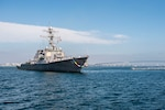 SAN DIEGO (June 25, 2015) The guided-missile destroyer USS Milius (DDG 69) returns to homeport following a 250-day independent deployment. Milius transited nearly 71,000 nautical miles while conducting presence operations and goodwill activities with partner nations while deployed to the U.S. 5th and 7th Fleets.
