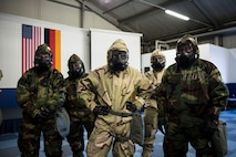 U.S. Airmen assigned to the 86th Civil Engineer Group participate in a chemical, biological, radiological, and nuclear training exercise on Ramstein Air Base, Germany, April 12, 2018. All Airmen are responsible for maintaining ample knowledge of CBRN operations regardless of rank or career field. (U.S. Air Force photo by Senior Airman Joshua Magbanua)