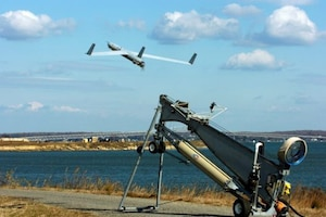 An unmanned aerial vehicle launches over the Potomac River in Maryland/Virginia.