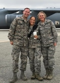Lt. Col. Debora Lehker (right), reserve commander at the 752nd Medical Squadron at March Air Reserve Base, Calif., poses for a photo with fellow nurses, 1st Lt. James Mitchener and Capt. Johanna Boone at the March Air Reserve Base Air Show, April 8, 2018. Lehker and other Air Force medics provided medical support at the air show. (Courtesy photo)