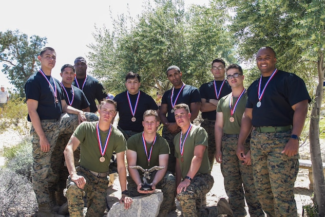 Marines from the Marine Corps Air Ground Combat Center, Twentynine Palms, Calif., won the inaugural Tug-of-War Competition hosted by the Desert Refuge for Peace Officers and Military Personnel in Joshua Tree, Calif., April 14, 2018. The event also included barbecue lunch, live music, giveaways and inter-faith prayer services. (U.S. Marine Corps photo by Cpl. Dave Flores)