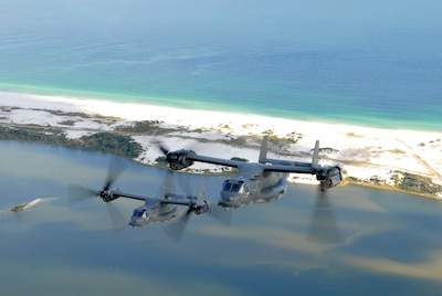 A CV-22 Osprey crew conducts recent flight operations training above Hurlburt Field's Santa Rosa Sound, Florida.