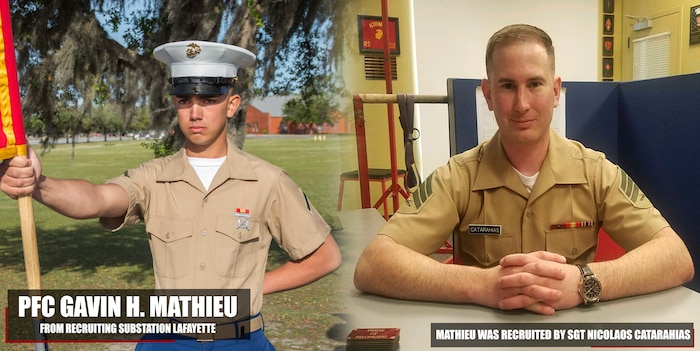 Private First Class Gavin H. Mathieu graduated Marine Corps recruit training April 20, 2018, aboard Marine Corps Recruit Depot Parris Island, South Carolina. Mathieu was the Honor Graduate of platoon 1028. Mathieu was recruited by Sgt. Nicolaos Catarahias from Recruiting Substation Lafayette. (U.S. Marine Corps photo by Lance Cpl. Jack A. E. Rigsby)