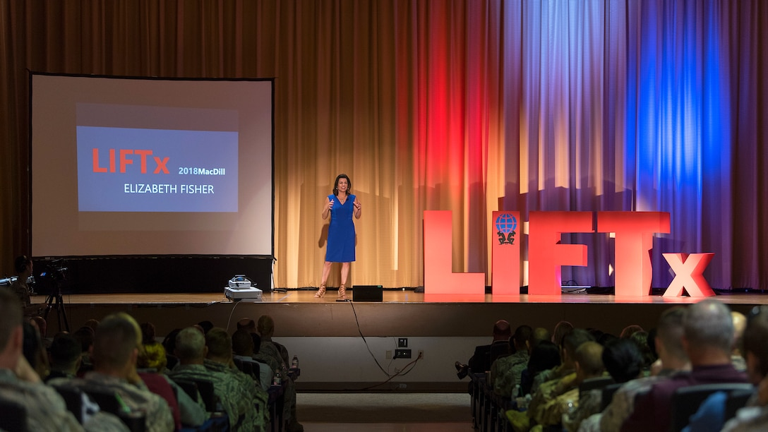Elizabeth Fisher, the co-founder and president of Selah Freedom, speaks during the Leaders Inspiring for Tomorrow (LIFTx) seminar hosted by MacDill Air Force Base, Fla., April 19, 2018. Fisher spoke on different principles of leadership and how they can be applied to create welcoming work environments. LIFTx brought together 10 diverse speakers from around the country who shared their stories of leadership, inspiration, innovation and resiliency.