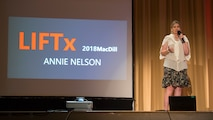 Annie Nelson, a former sports broadcaster, speaks during the Leaders Inspiring for Tomorrow seminar hosted by MacDill Air Force Base, Fla., April 19, 2018. Nelson shared her story of combating post-traumatic stress in hopes to raise awareness on the recovery process of such condition. LIFTx brought together 10 diverse speakers from around the country who shared their stories of leadership, inspiration, innovation and resiliency.