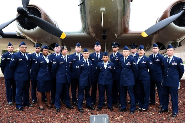 Airman Leadership School Class 18-C stands before the EC-47 static plane display on Goodfellow Air Force Base, Texas, April 9, 2018. ALS is a six-week course designed to prepare senior airmen to assume supervisory duties by offering instruction in leadership, followership, written and oral communication skills, and the profession of arms.  (U.S. Air Force photo by Airman 1st Class Seraiah Hines/Released)