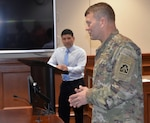 Lt. Gen. Jeffrey S. Buchanan (right), commanding general, U.S. Army North (Fifth Army), thanks the volunteers at the Joint Base San Antonio-Fort Sam Houston Tax Center for their time and service April 20, as Jesse Bolaños, Military Tax Center director listens. The Tax Center processed more than 2,111 Federal and more than 200 State returns. The tax center was able to reach more than 3,400 clients and returned more than 4.17 Million dollars in the form of refunds to the community. The Tax Center also saved the JBSA-FSH Community more than $434,000 in filing and preparation fees.