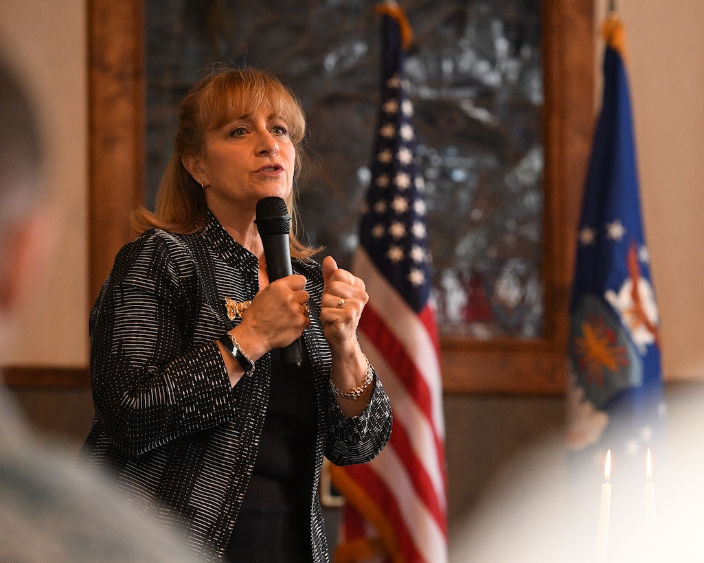 Diane Warsoff speaks during the Holocaust Days of Remembrance Service April 18, 2018, at Hill Air Force Base, Utah. Warsoff is a second-generation Holocaust survivor. Her mother and grandparents survived the Holocaust by hiding in France during World War II. In 2015, she traveled to Europe and met the family that rescued her mother and grandparents. (U.S. Air Force photo by R. Nial Bradshaw)