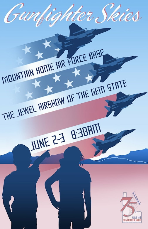Image of a graphic of Gunfighter Skies Air and Space Celebration. The airshow is scheduled to be held June 2nd and 3rd. Gates open at 8:30 a.m. (U.S. Air Force Graphic by Airman 1st Class Janae Capuno)