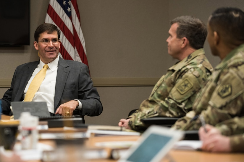 Army Secretary Mark Esper speaks to soldiers at Fort Knox, Ky., April 6, 2018