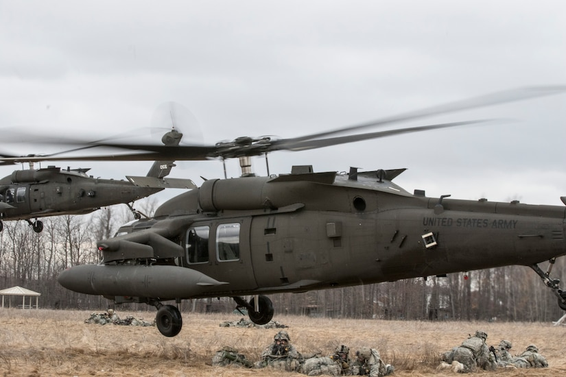 The 10th Combat Aviation Brigade conducts a troop air insertion as part of the Falcon's Peak aviation training exercise at Sexton Field at Fort Drum, N.Y.