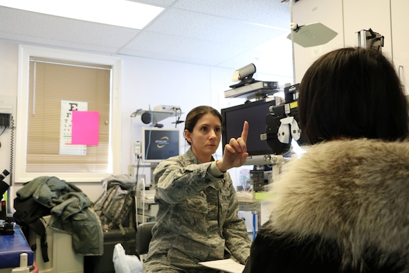 U.S. Air Force Capt. Roxanne Buffano, an optometrist assigned to the 927th Aerospace Medicine Squadron, MacDill AFB FL, conducts an eye exam April 17, 2018 in support of Arctic Care 2018, at the Kivalina Clinic, Kivalina, Alaska. Arctic Care 2018 is an Innovative Readiness Training exercise comprised of a joint and multi-national force, providing medical, dental, optometry and veterinary care for underserved villages in the Maniillaq Service Area April 16-24. (U.S. Air Force photo by Maj. Joe Simms)