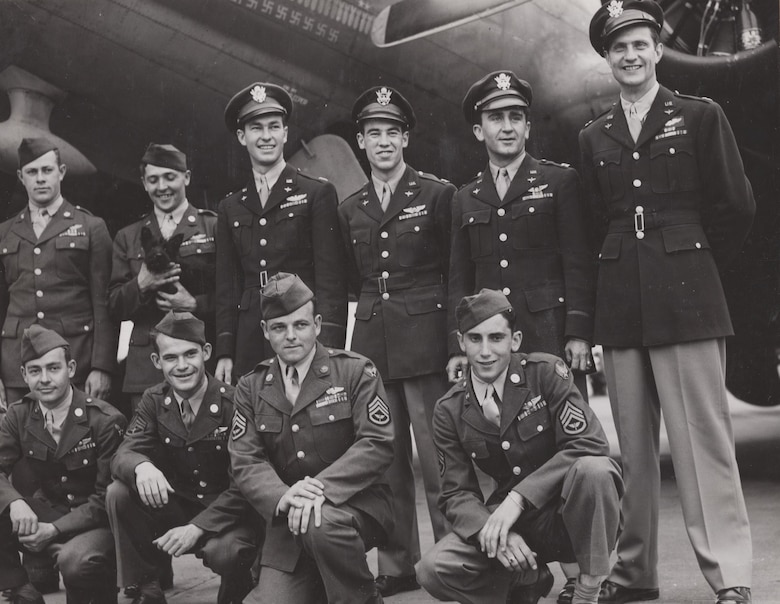"Memphis Belle crew for the war bond tour.  Nine of the ten crewmembers are in the early tour photo above—19-year-old SSgt Casimer ""Tony"" Nastal (bottom right) was added for the war bond tour.  Nastal flew 25 missions, but only one on the Memphis Belle."