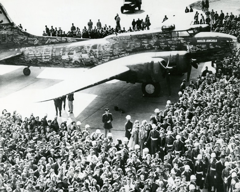 On May 13, 1943, the 303rd BG B-17F Hell's Angels became the first heavy bomber to complete 25 combat missions over Europe, four days before the Memphis Belle's crew.  After flying 48 combat missions, it returned to the US for a war bond tour, but not until 1944.