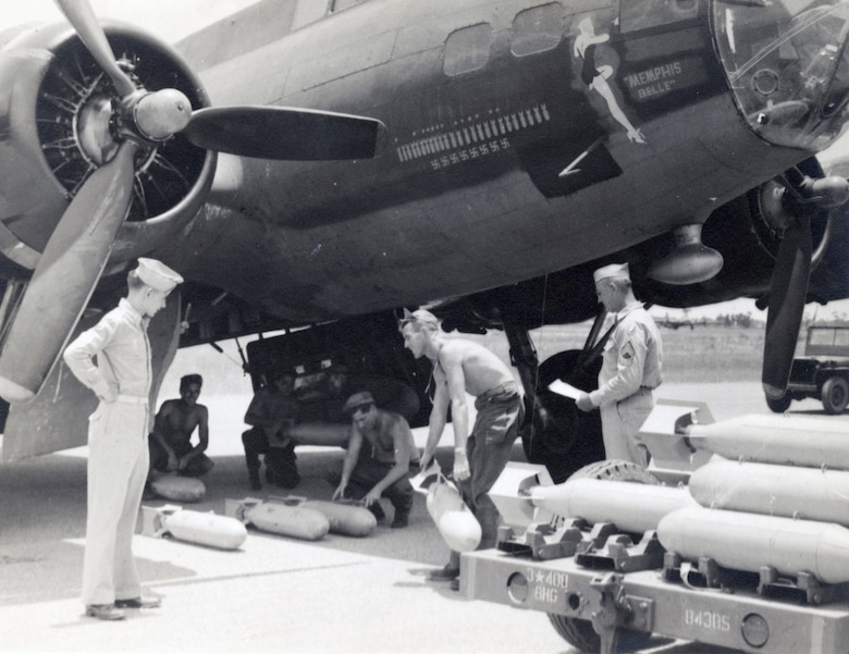 Memphis Belle being loaded with practice bombs at MacDill AAF.