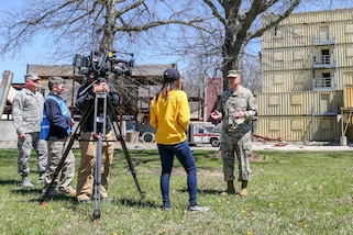 Army Maj. Gen. Richard Gallant, commander, Joint Task Force Civil Support (JTF-CS), responds to questions during an interview with ABC11 Eyewitness News reporter Morgan Norwood at Muscatatuck Urban Training Center, Ind. Apr 20, 2018. JTF-CS is currently engaged in exercise Vibrant Response, an annual exercise that tests JTF-CS's and the Defense Chemical, Biological, Radiological and Nuclear Response Force (DCRF)'s ability to respond to a catastrophic event. JTF-CS provides command and control for designated Department of Defense specialized response forces to assist local, state, federal and tribal partners in saving lives, preventing further injury and providing critical support to enable community recovery. (U.S. DoD photo by Mass Communication Specialist 3rd Class Michael Redd/released)