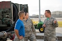 U.S. Air Force Staff Sgt. William Brinegar (right), 6th Logistics Readiness Squadron fuels support NCO in charge, talks with Airmen assigned to the 6th Aircraft Maintenance Squadron during a shadow day at MacDill Air Force Base, Fla., April 20, 2018. The shadow day program allows Airmen to experience firsthand how other Airmen contribute to the mission, thus, cultivating and fostering teamwork.