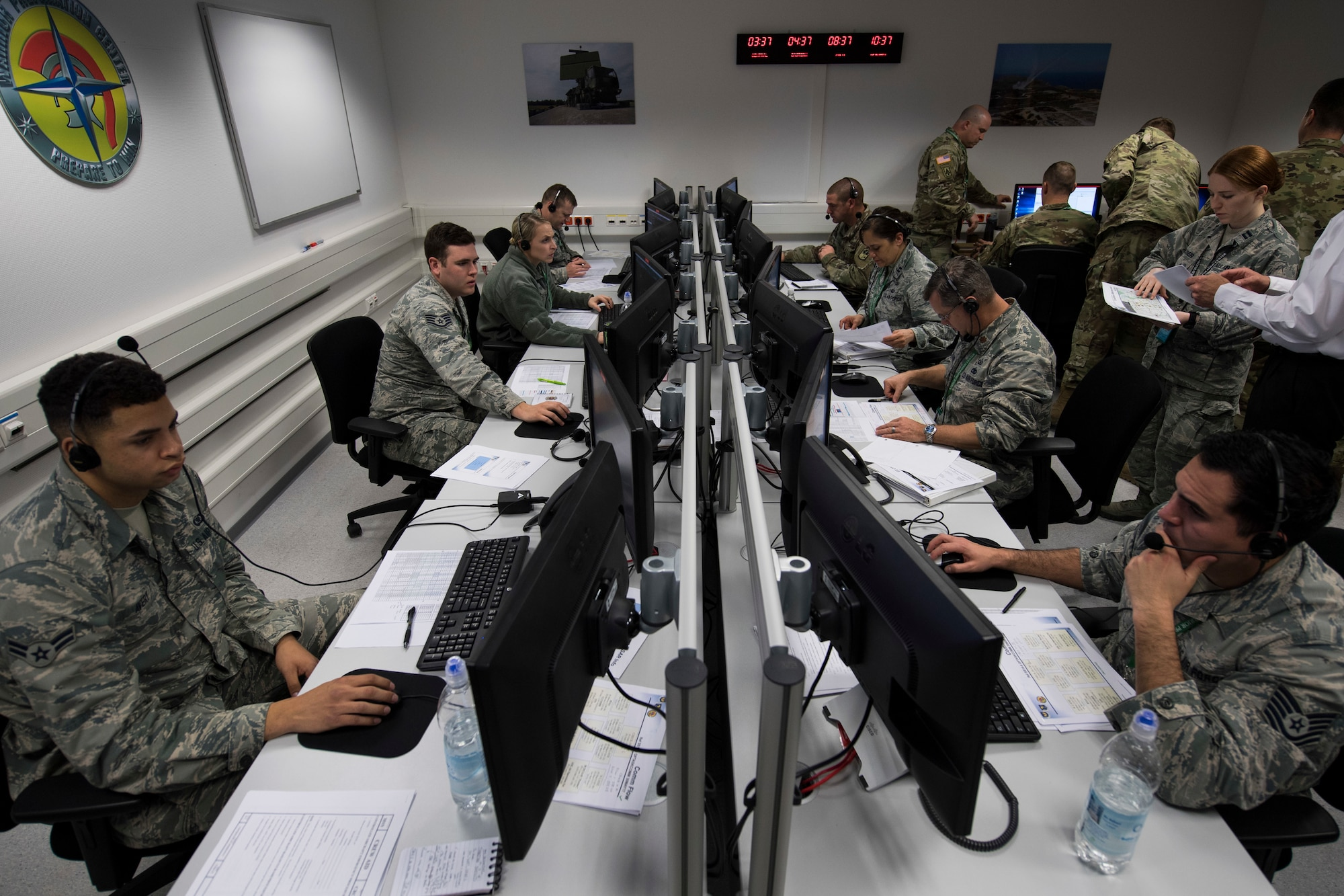 The U.S. Air Forces in Europe Warrior Preparation Center held the first U.S. Air Force and U.S. Army integrated Patriot missile defense exercise at Einsiedlerhof Air Station, Germany, April 12-18.
