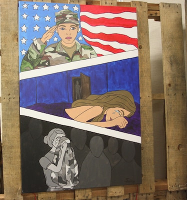"Prevention Summit at the Fort Sam Houston Community Center April 19, a painting is displayed depicting the devastation caused by sexual assault amongst military service members. The artist, Sandra Hocking, from the 470th Military Intelligence Brigade, titled this painting ""Shattered Trust."""