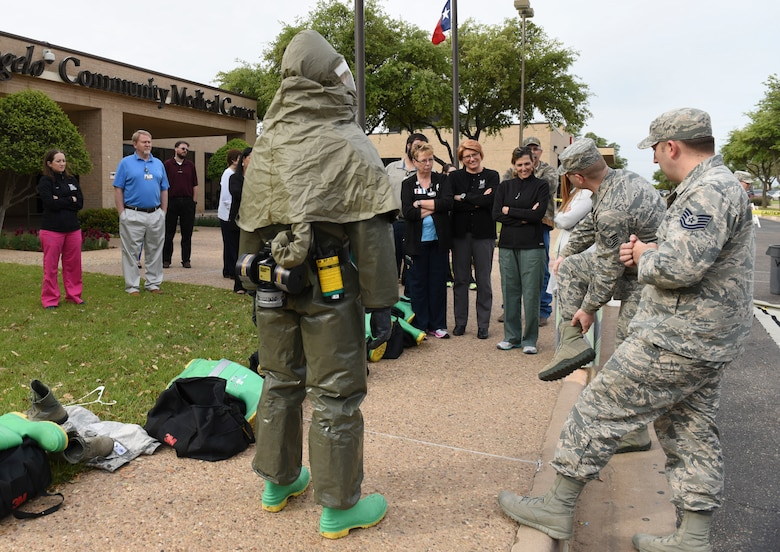 17th Medical Group members demonstrate the Toxicological Protective Coveralls, nicknamed the gumby suit, during a training sessions between Goodfellow and the San Angelo Community Medical Center, San Angelo Texas, April 19, 2018. This was the first training session between Goodfellow and SACMC to demonstrate decontaminations procedures.  (U.S. Air Force photo by Aryn Lockhart/Released)