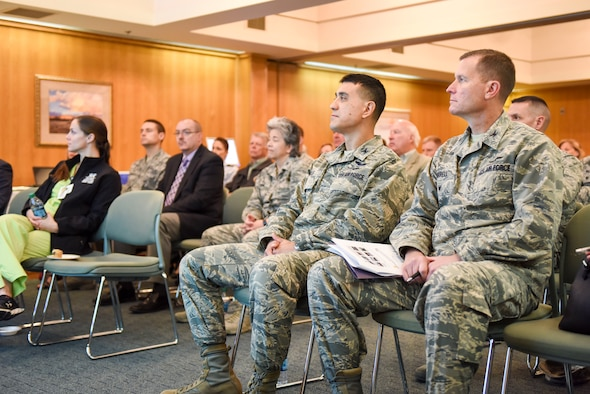 U.S. Air Force Col. Ricky Mills, 17th Training Wing commander and Col. Jeffrey Sorrell, 17th Training Wing vice commander, attend the quarterly community partnership agreement meeting held at San Angelo Community Medical Center, San Angelo, Texas, April 19, 2018. The partnership meeting included working groups as military and civilians brainstormed solutions and strategies for new initiatives (U.S. Air Force photo by Aryn Lockhart/Released)