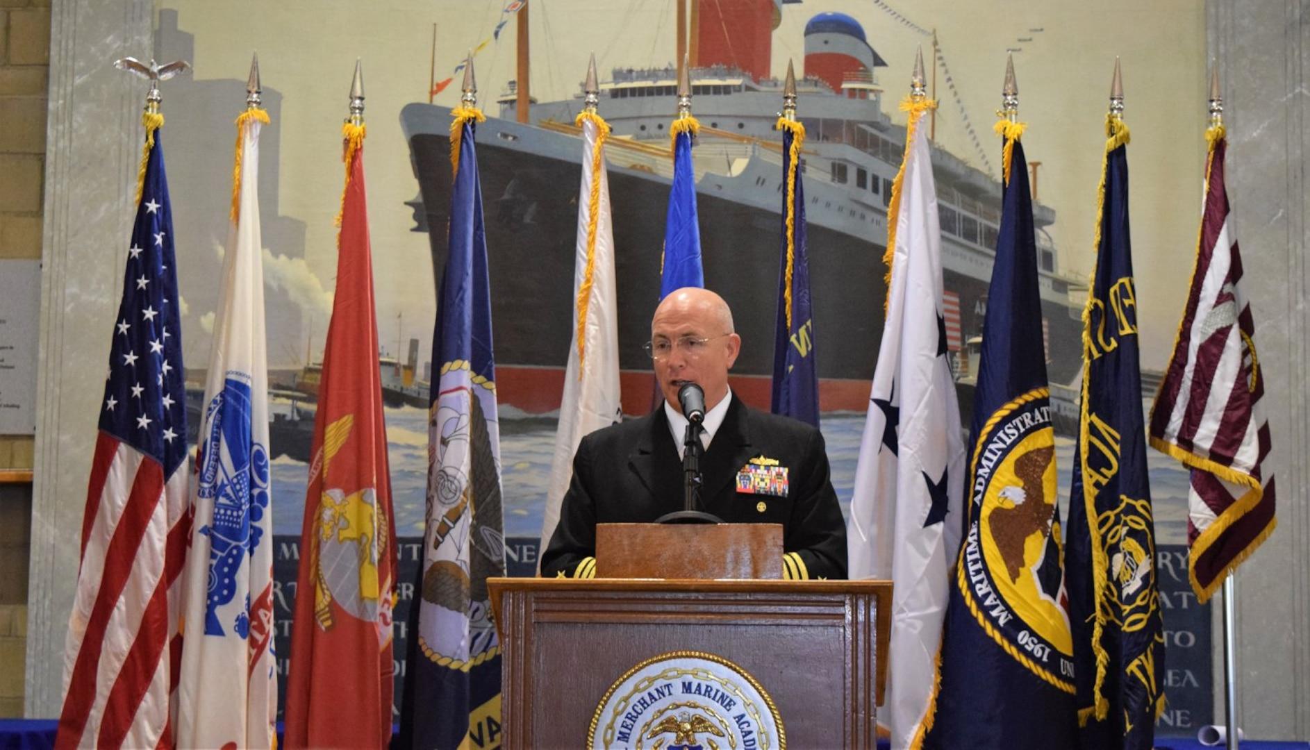 Admiral Kurt Tidd speaks at the U.S. Merchant Marine Academy.