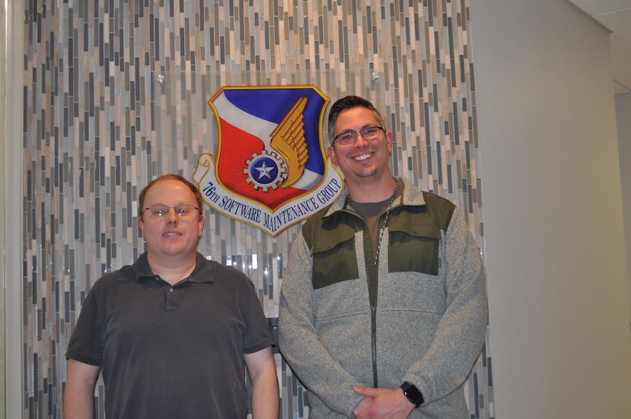 """555th Software Maintenance Squadron Flight Chief Curtis Haley and 555th SMXS Electrical Engineer and Team Lead Rex Mason worked together to help the 555th SMXS's SPEHS Test Team gain recognition as an Air Force Sustainment Center nominee for the """"2018 General Larry O. Spencer Innovation Team Award."""""""