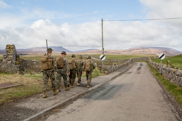 Reserve Marines with 4th Air Naval Gunfire Liaison Company, Force Headquarters Group, perform a five-mile movement to a possible observation post in Cape Wrath, Scotland, April 23, 2018.