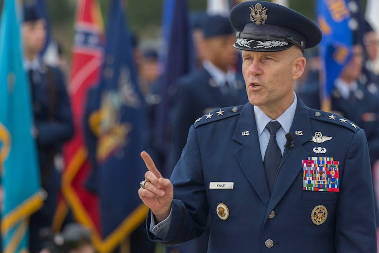 """Lt. Gen. Steven L. Kwast, Commander of the Air Education and Training Command address the crowd at Joint Base San Antonio-Lackland, Texas during a basic military training graduation ceremony April 20, 2018. The ceremony also acknowledged the beginning of """"Fiesta San Antonio,"""" the city's annual festival held to honor the memory of the battles of the Alamo and San Jacinto. (U.S. Air Force photo by Ismael Ortega / Released)"""