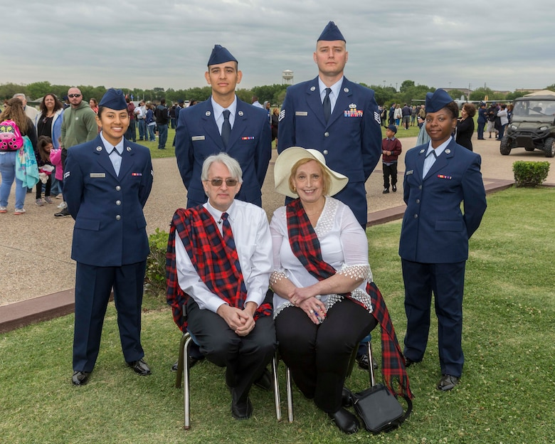 David Lackland (Center) and his wife Eileen take a group photo at Joint Base San Antonio-Lackland, Texas after a basic military training graduation ceremony April 20, 2018. David is the cousin of Brig. Gen. Frank D. Lackland, the namesake of JBSA-Lackland. Today is the first time David and Eileen have viewed a BMT graduation. (U.S. Air Force photo by Ismael Ortega / Released)