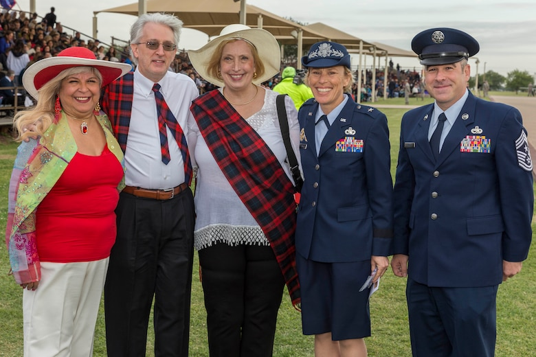 David Lackland (Inside Left) and his wife Eileen take a group photo at Joint Base San Antonio-Lackland, Texas after a basic military training graduation ceremony April 20, 2018. David is the cousin of Brig. Gen. Frank D. Lackland, the namesake of JBSA-Lackland. Today is the first time David and Eileen have viewed a BMT graduation. (U.S. Air Force photo by Ismael Ortega / Released)