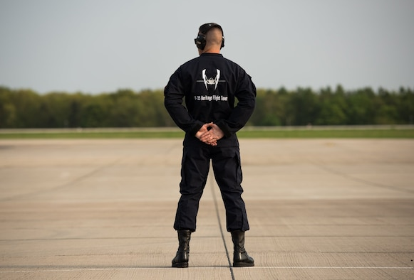 Staff Sgt. Zachary Madera, F-35 Heritage Flight Team crew chief, stands at parade rest at the Berlin Schönefeld Airport, in Berlin, Germany, April 22, 2018. The Berlin Air and Trade show provides a collaborative opportunity to share and strengthen the U.S. and European strategic partnership that has been forged during the last seven decades and is built on a foundation of shared values, experiences, and vision. (U.S. Air Force photo by Airman 1st Class Alexander Cook)