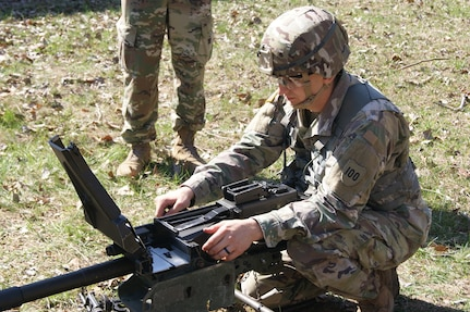 Staff Sgt. Ethan Kruger, assigned to Camp Parks Noncommissioned Officer Academy, 83rd U.S. Army Reserve Readiness Training Center, 100th Training Division, demonstrates weapons knowledge as part of the 80th Training Command's 2018 Best Warrior Competition at Fort Knox, Kentucky, April 14, 2018. (U.S. Army Reserve photo by SFC Elizabeth Breckenkamp, 80th Training Command)