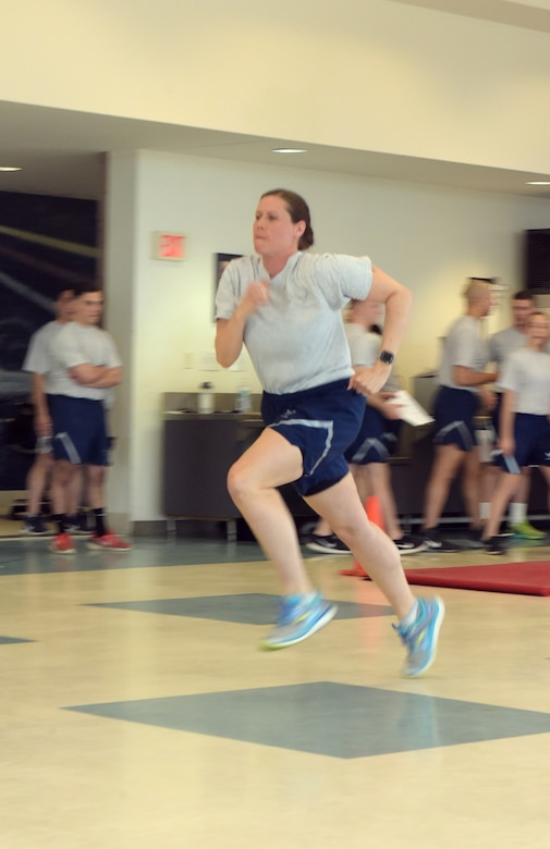 Staff Sgt. Stephanie Lambert, 109th Airlift Wing Public Affairs photojournalist, runs the 11x10 meter sprint with the hopes of qualifying for the German Armed Forces Forces Proficiency Badge on April 13, 2018, at Stratton Air National Guard Base, Scotia, New York.