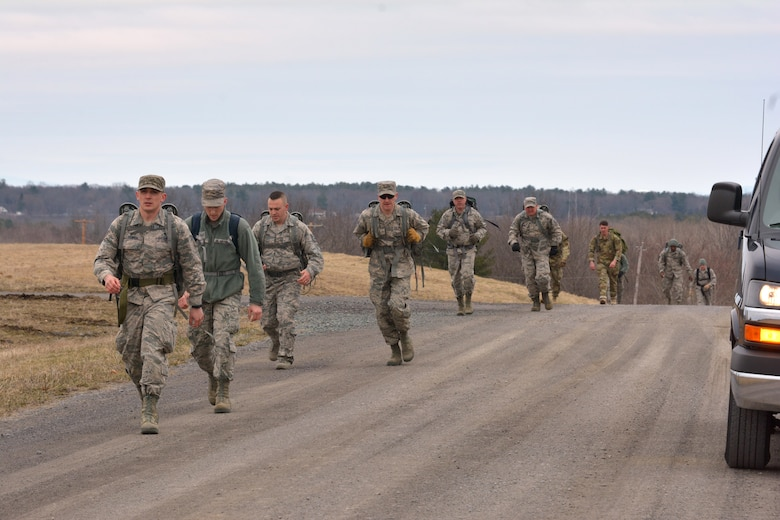 Airmen and Soldiers particiapte in the Ruck March of the German Armed Forces Forces Proficiency Badge on April 14, 2018, at Stratton Air National Guard Base, Scotia, New York.