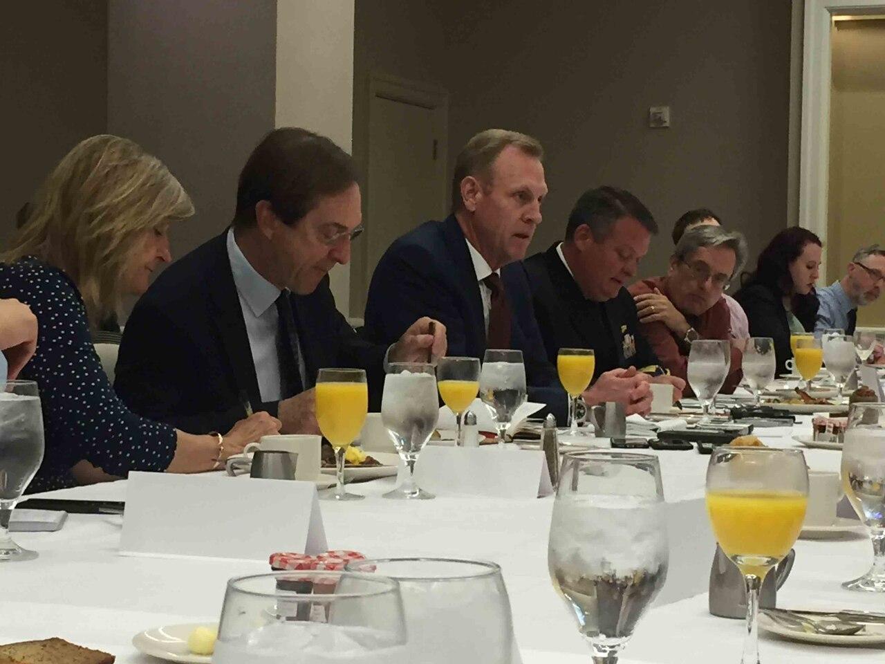 Deputy Defense Secretary Patrick M. Shanahan answers questions at a Defense Writers Group forum in Washington.