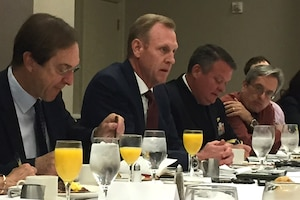 Deputy Defense Secretary Patrick M. Shanahan answers questions at a Defense Writers Group forum in Washington.