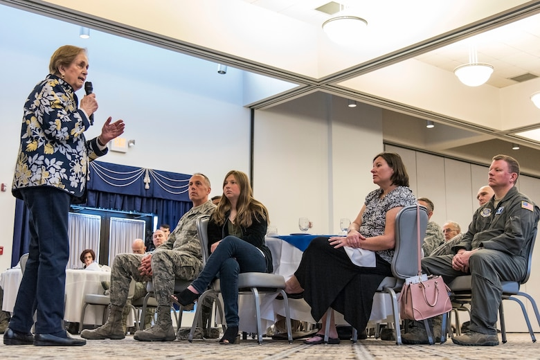 Ann Jaffe, a Holocaust survivor, tells her story to Holocaust Remembrance Luncheon attendees, April 17, 2018, at The Landings on Dover Air Force Base, Del. Four to five times a month, Jaffe speaks primarily at universities and high schools around the Wilmington, Del., area. (U.S. Air Force photo by Roland Balik)