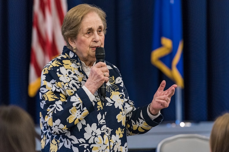 Ann Jaffe, a Holocaust survivor, speaks to Team Dover members during the Holocaust Remembrance Luncheon, April 17, 2018, at The Landings on Dover Air Force Base, Del. Jaffe's personal story was focused toward the elimination of hatred by educating younger generations about the Holocaust. (U.S. Air Force photo by Roland Balik)