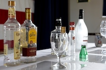 Examples of alcohol are displayed during a drinking responsibly event April 13, 2018, at the Landings on Dover Air Force Base, Del. The Airmen Committed to Excellence Council provides Airmen with opportunities to network, lead and step out of their comfort zone. (U.S. Air Force photo/Tech. Sgt. Matt Davis)