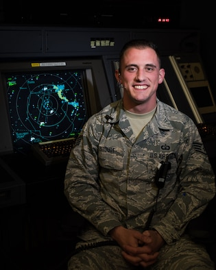 Staff Sgt. Justin Stoudt, 436th Operations Support Squadron Radar Approach Control air traffic controller, poses for a portrait April 23, 2018, at Dover Air Force Base, Del. Stoudt was selected as a recipient of the Lt. Gen. Gordon A. Blake Aircraft Save Award for his outstanding performance while assisting a pilot who declared an in-flight emergency in October 2017. (U.S. Air Force photo by Airman 1st Class Zoe M. Wockenfuss)