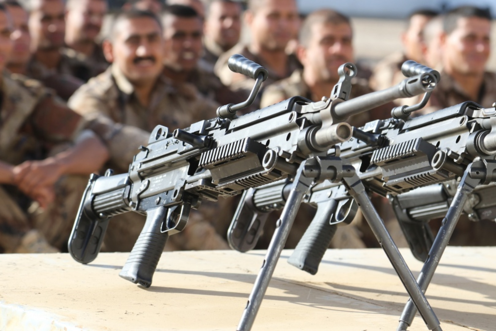 Members of Iraq's Counter-Terrorism Service prepare for their first class on heavy weapons in 2nd School at Baghdad Diplomatic Support Center, Iraq.