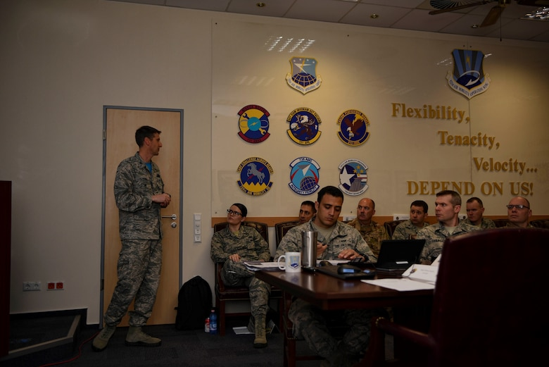 U.S. Air Force Col. Bradley Spears, 521st Air Mobility Operations Wing vice commander, spoke to current and upcoming leadership within the 521st AMOW during the Squadron Leadership Orientation Course on Ramstein Air Base, Germany, April 20, 2018. The course focused on 521st AMOW's strategic priorities of developing Airmen and enhancing partnerships.