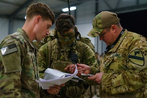 Soldiers discuss operations plans.