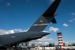 A C-17 transport jet sits on the ramp in Guatemala City.