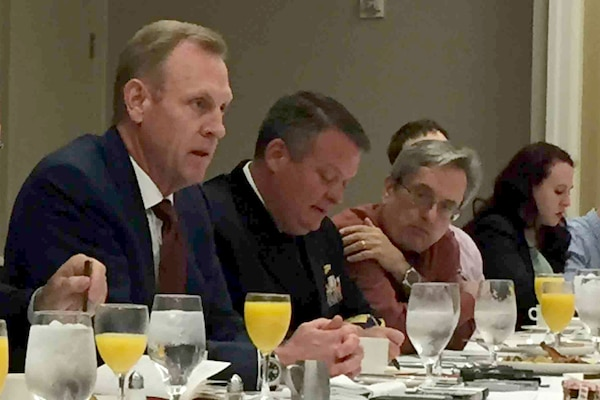 Deputy Defense Secretary Patrick M. Shanahan answers questions at a Defense Writers Group forum in Washington, April 24, 2018. The deputy secretary discussed reforms and re-engineering in the department. DoD photo by Jim Garamone